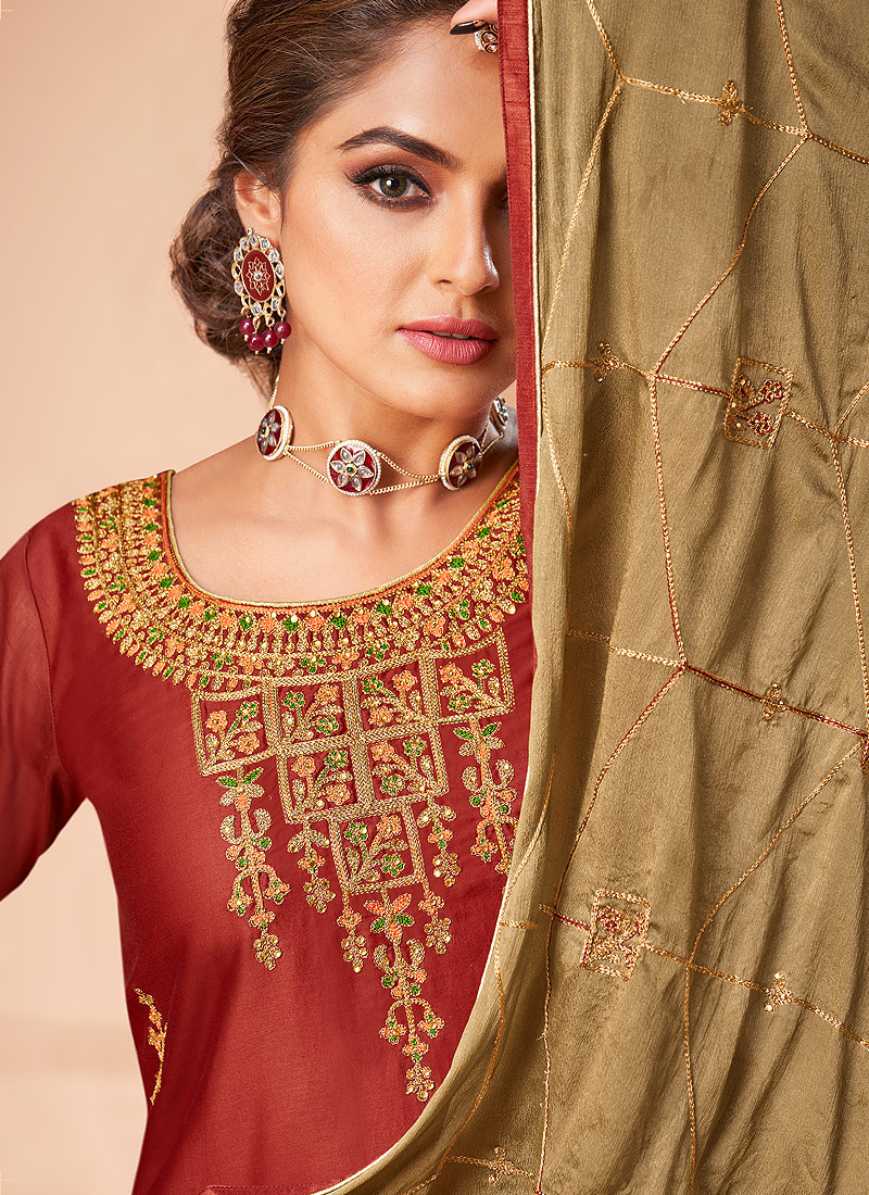 Red and Green Embroidered Straight Pant Suit
