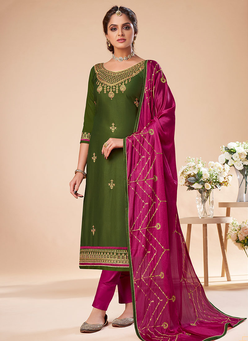 Green and Magenta Embroidered Straight Pant Suit
