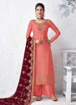 Light Pink and Maroon Embroidered Palazzo Suit