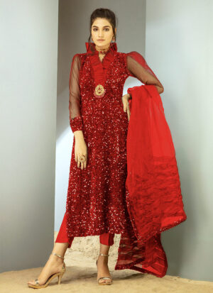 CHIC OPHICIAL - Red Sequin Velvet shirt