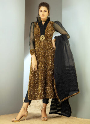 CHIC OPHICIAL - lack Gold Sequin Velvet shirt