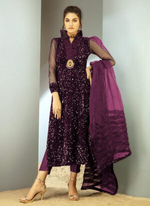 CHIC OPHICIAL - Purple Sequin Velvet shirt
