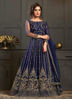 Royal Blue and Gold Embroidered Anarkali