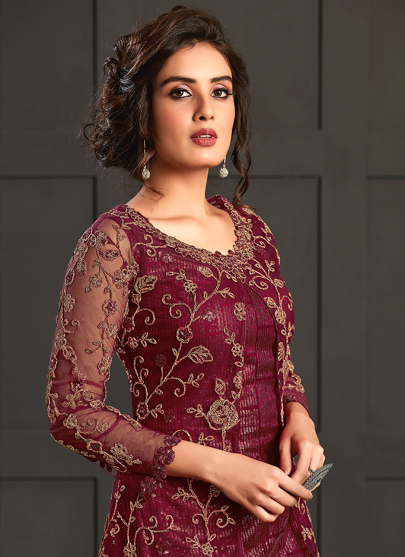 Reddish Pink Embroidered Jacket Style Suit