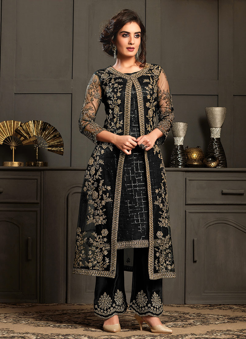 Black and Gold Embroidered Jacket Style Suit