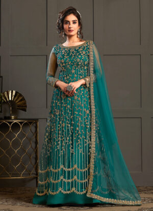 Peacock Blue and Gold Embroidered Anarkali