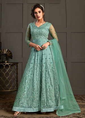 Firozi Floral Embroidered Anarkali