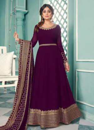 Purple and Gold Embroidered Anarkali