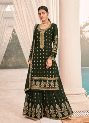 Dark Green and Gold Embroidered Palazzo Suit