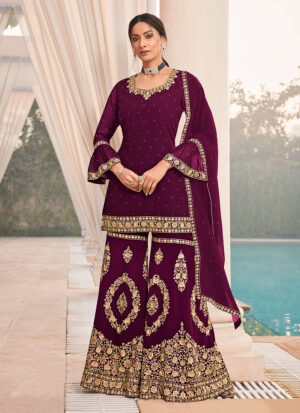 Purple and Gold Embroidered Sharara Suit