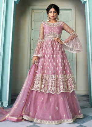 Light Purple Embroidered Lehenga Anarkali