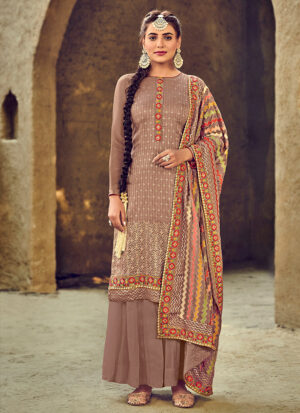 Grey Multicolor Embroidered Palazzo Suit