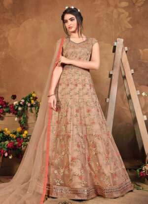 Light Beige Floral Embroidered Anarkali