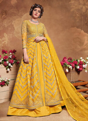 Yellow Embroidered Jacket Style Anarkali