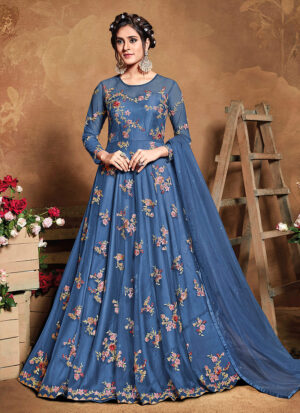 Blue Floral Embroidered Anarkali