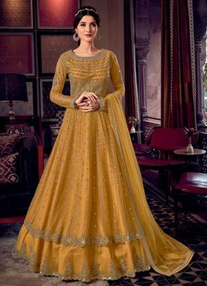 Yellow and Gold Embroidered Lehenga Anarkali