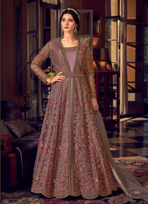Light Purple and Gold Embroidered Jacket Style Anarkali