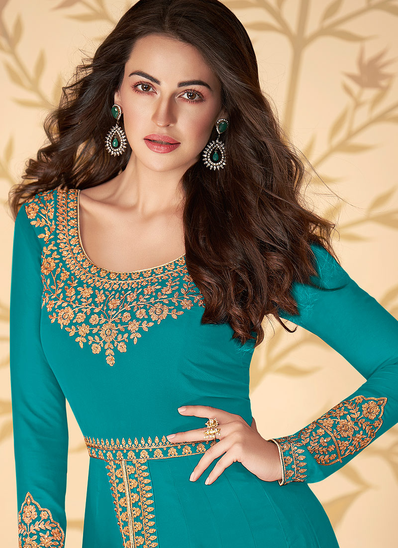 Aqua and Gold Embroidered Pant Style Anarkali