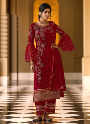 Red and Gold Embroidered Pant Suit