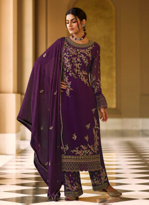 Purple and Gold Embroidered Pant Suit