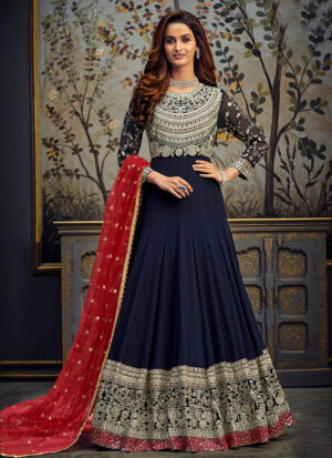 Blue and Red Embroidered Anarkali