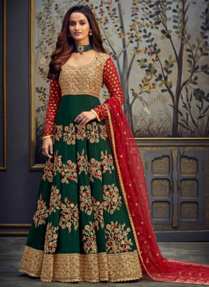 Green and Red  Embroidered Anarkali