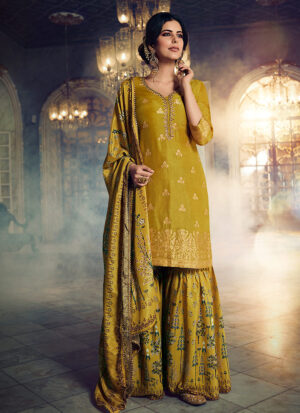 Mustard and Gold Embroidered Gharara Suit