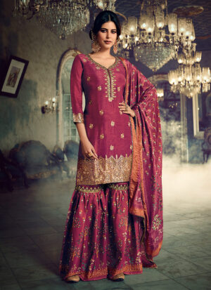 Pink and Gold Embroidered Gharara Suit