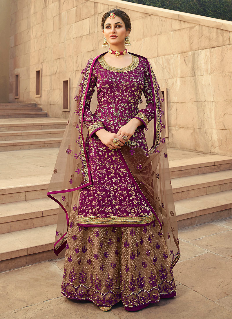 Purple and Grey Embroidered Palazzo Suit