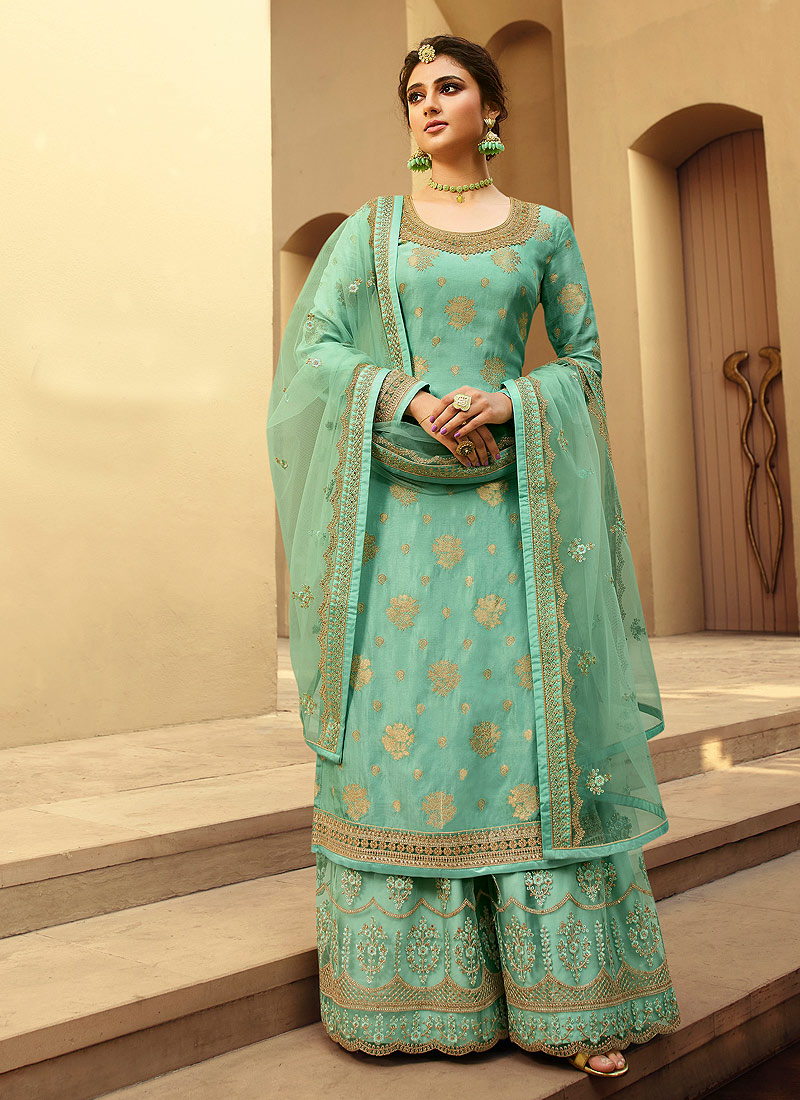 Aqua and Gold Embroidered Palazzo Suit