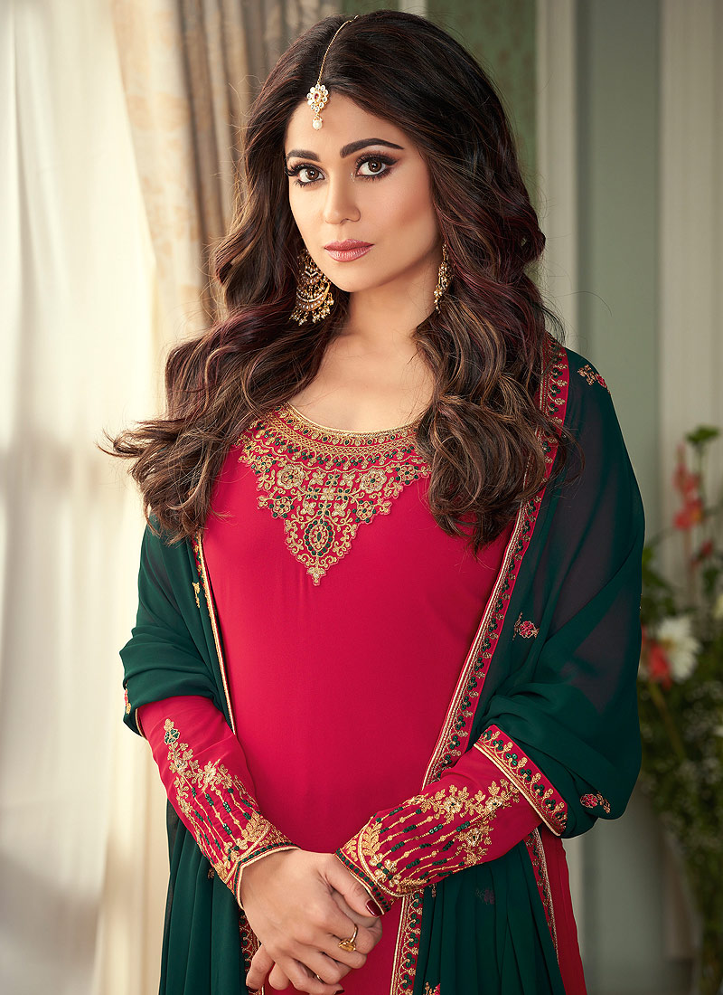 Pink and Green Embroidered Palazzo Suit