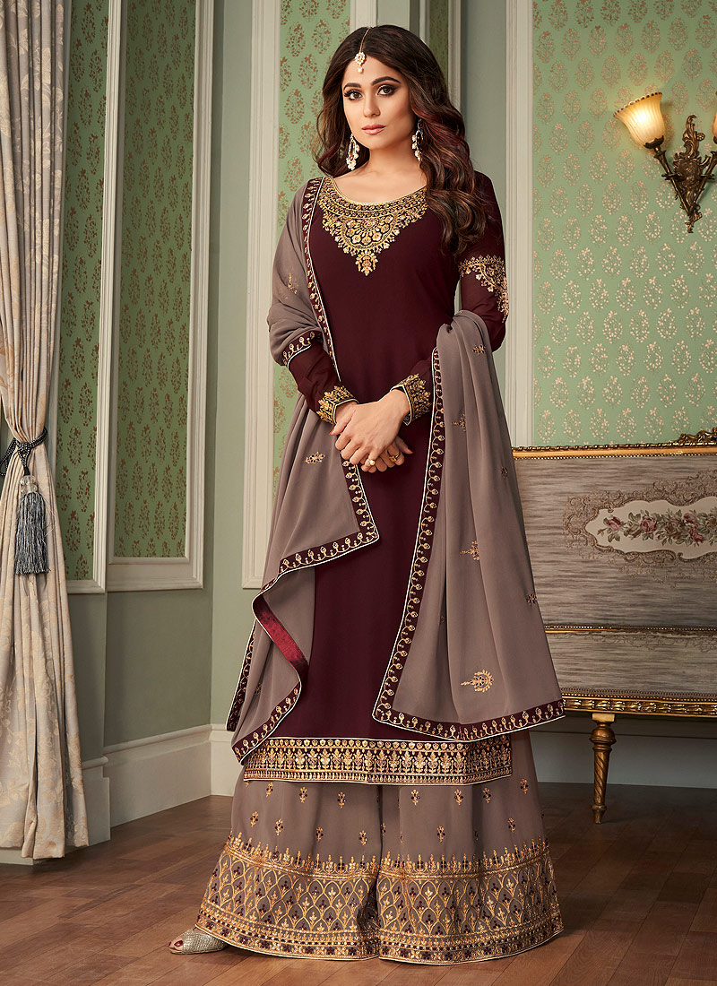 Brown and Grey Embroidered Palazzo Suit