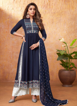 Blue and White Embroidered Pant Style Suit