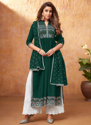 Green and White Embroidered Pant Style Suit