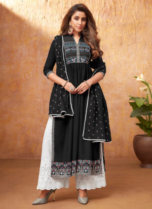 Black and White Embroidered Pant Style Suit