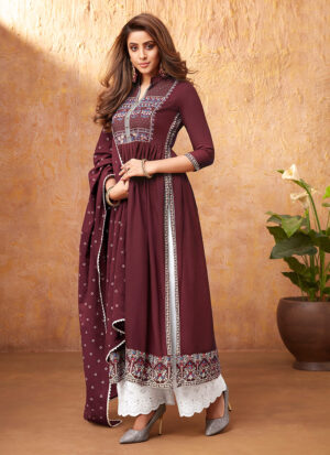 Maroon and White Embroidered Pant Style Suit