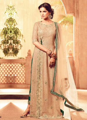 Beige and Green Embroidered Pant Style Suit