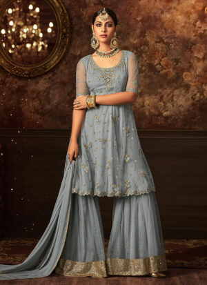 Sky Blue Embroidered Gharara Suit