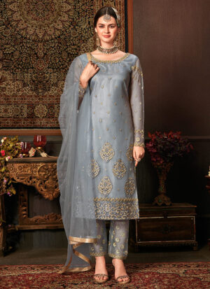 Blue Grey Embroidered Pant Style Suit