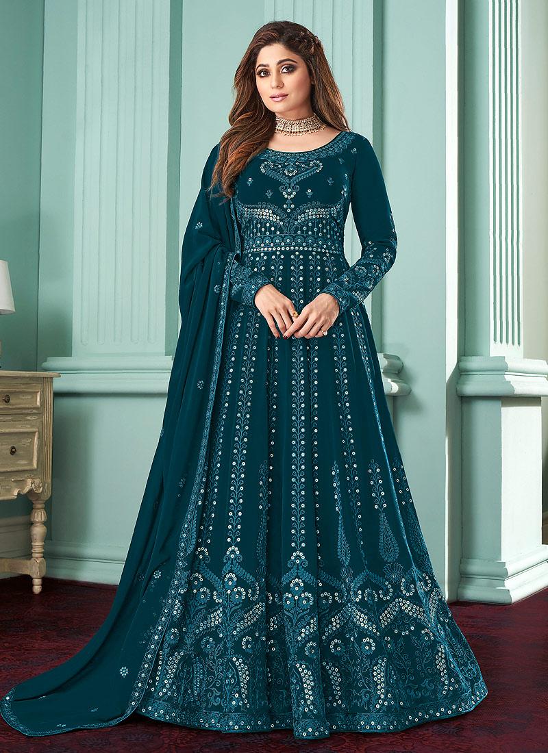 Teal Blue Heavy Embroidered Anarkali