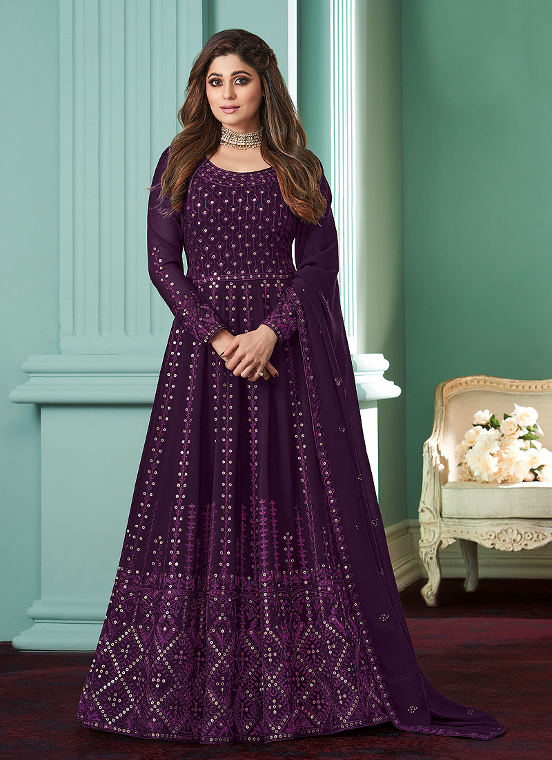 Purple Heavy Embroidered Anarkali