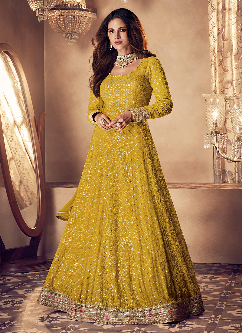 Yellow and Gold Heavy Embroidered Anarkali