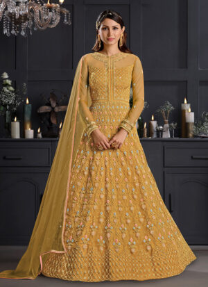 Yellow Floral Embroidered Anarkali