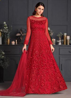 Red Floral Embroidered Anarkali