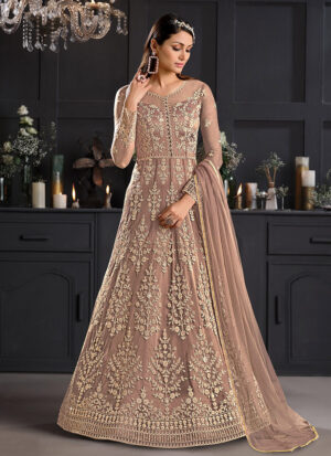 Beige and Gold Embroidered Anarkali