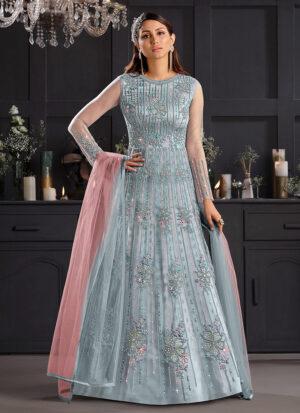 Sky Blue and Pink Embroidered Anarkali